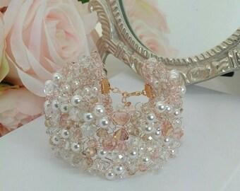 Beaded Blush Bridal cuff,  Pearl and crystal bracelet, geometric bracelet, pearl cuff, wedding jewellery, bridal cuff, sparkle bracelet