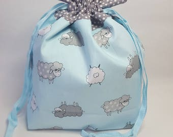 "Medium Lined DRAWSTRING Bag, SHEEP, #78, 13""x8""x4"", project bag, storage bag"