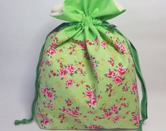 "Medium Lined DRAWSTRING Bag, ROSES, #85, 13""x8""x4"", project bag, storage bag"