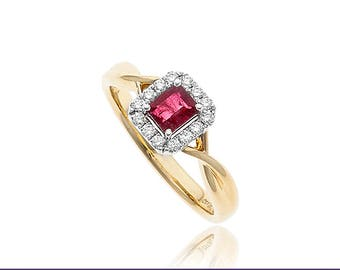 Platinum and 18K Yellow Gold .31ctw Red Emerald & .15ctw Diamond Ring
