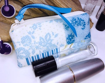 Shabby Essential Oil Bag, Blue Victorian Lipstick Case, Feminine Small Zipper Pouch, Lip Balm Case, USB Case, Doterra Oil Storage