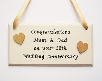 50th Golden Wedding Anniversary gift, Personalised 50th Golden Anniversary present, 50th Golden Anniversary plaque sign decoration