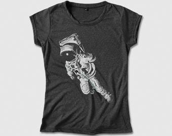 Astronaut in Space Science Shirt for Women Cosmonaut T-shirt -   Screen print Tee, Light, Soft & Comfy Cotton Blend Shirt for her