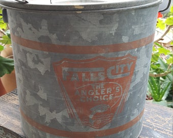 Galvanized minnow bucket/Falls City the angler's choice/man cave decor/