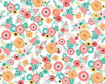 1 Yard Just Sayin' by Jen Allyson of My Minds Eye for Riley Blake Designs -6891 White Floral