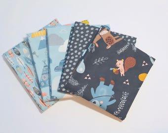 Fat Quarter Bundle Wild and Free by Abi Hall for Moda- 5 Fabrics Blue