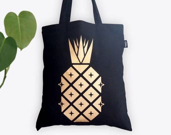 New! Disco Pineapple Tote Bag – Metallic gold foil screen printed Bling Bag by Suzie London