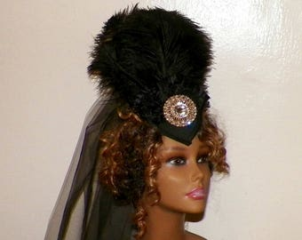 Victorian Black Gothic Headdress Hat Feather Fascinator Steampunk Lolita Costume Headpiece Old West  Marie Antoinette