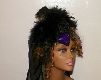 On Sale- Gothic Headdress Purple Victorian Hat Black Feather Fascinator Steampunk Lolita Costume Headpiece Old West  Marie Antoinette