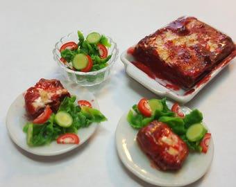 1:12 Lasagna dinner set miniatures dollhouse