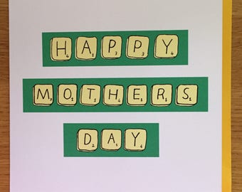 mother's day Card - mom, mum cards - scrabble, Mother's Day