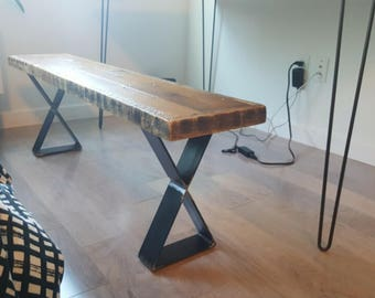Custom Built Reclaimed Wood Bench with Steel X Legs