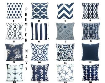 Navy Blue Pillow Covers, Decorative Throw Pillows, Cushion Covers, Navy White Chevron Nautical Home Decor Cotton Mix & Match All Sizes