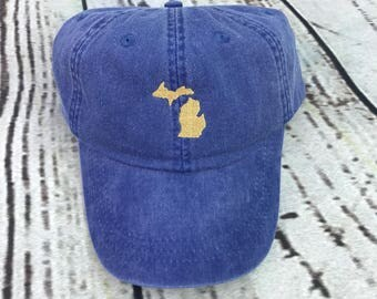 Michigan hat, State of Michigan baseball hat, Michigan baseball cap, Pigment dyed hat, State hat, Gameday hat, Filled state