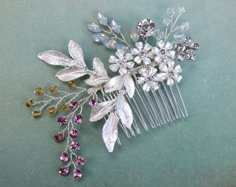 Bridal Hair Comb, Floral Bridal Hair Comb, Silver Wedding Hair Comb, Rhinestone Bridal Headpiece, Crystal Romantic Side Comb, CO-003