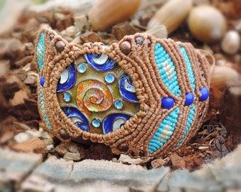 Macrame bracelet Colorful bracelet Fall bracelet Fired Enamel bracelet Mythology bracelet Boho bracelet Artisan bracelet Rustic bracelet