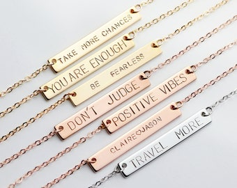 Personalized Bar Necklace Engraved Gift Women Inspirational Necklace Graduation Gift Inspirational anniversary gifts birthday gift - 9N