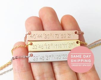 Coordinate Necklace Rose Gold Bar Necklace Custom Coordinate Jewelry Custom Hand Stamped Custom Name necklace - 4N