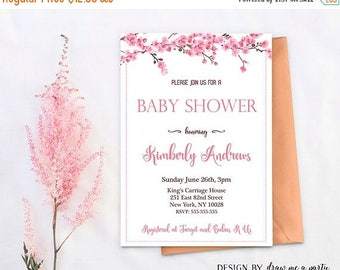 20% OFF Cherry Blossom Baby Shower Invitation , Floral Baby Shower Invitation , Cherry Blossom Invitation , Pink Flower Baby Shower , Printa