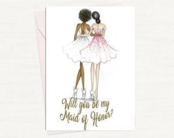 Made of honor PDF AfricanAmerican Bride and Dark brunette Made of honor card PDF printable card
