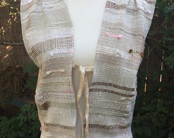 Handwoven, one-of-a-kind cropped vest, Saori-style weaving, Bohostyle