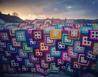 Colourful Granny Square Blanket * vintage * Hippie