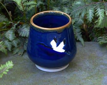 Blue crane tea bowl