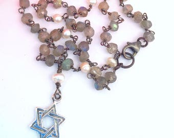 Star of David Necklace on Labradorite Pearl Chain, Child's Sterling Jewish Star Necklace, Small Sterling Jewish Star Necklace