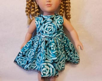 "Blue rose dress with full skirt fits American Girl or other similar 18"" inch dolls"