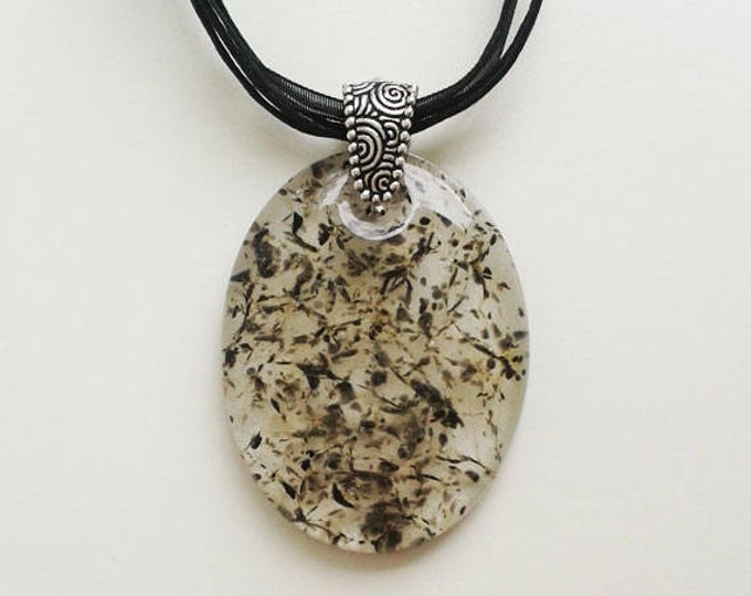 Grey cast glass pendant, made from transparent grey, khaki, clear & black glass.
