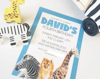 "Zoo | Giraffe | Zebra | Tiger | Blue | Birthday Party | Invitation | 5""x7"" | Customizable"