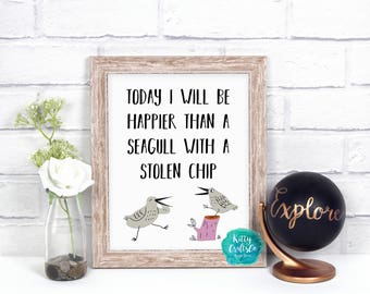 Funny Quote Digital Print, Typography Wall Art Print, Home Print, Printable Art, Bird Wall Print, Quote Wall Art, Funny Office Wall Art