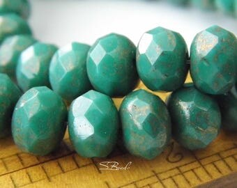 Persian Turquoise, Rondelle Beads, Czech Beads, Beads