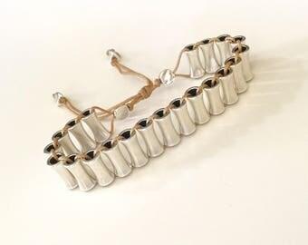 Passers silver zamak, sliding knot bracelet