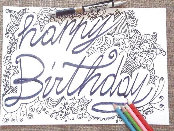 Buon compleanno da colorare per adulti bambini happy birthday - Buon compleanno da colorare immagini da colorare ...