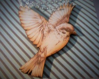 large dove lovebird rockabilly painted  bird necklace woodcut lasercut