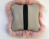 """Pink Rabbit Fur """"Baby"""" Zipper Pouch"""