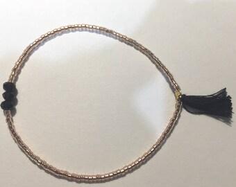 "Rose gold ""miyuki"", trio of glass beads and tassel bracelet glass beads"