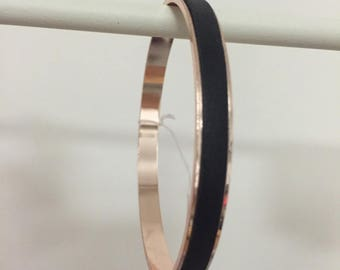 Rose gold plated Bangle and black genuine leather