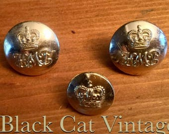Set of three HMP brass Buttons Her Majestys Prison Service 1.8 1.5 Uniform Firmin police Queens Crown Force Military