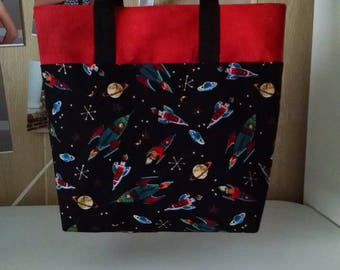 Boys Retro Rocket Tote Bag Library Bag Preschool Bag Reusable