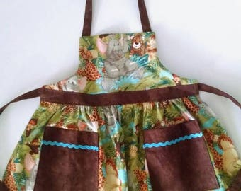 Girls Apron  with Pockets Girls Zoo Animal Apron