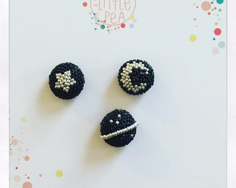 SET of 3 PINS in the space - Planet - Moon - Star