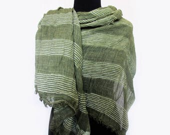 Olive Scarf, Striped Fall Scarf, Autumn Scarf, Light Green Scarf, Mothers Day Gift, Long Olive Pashmina Scarf, Green Shawl
