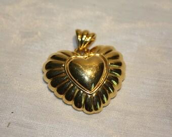 Heart in Heart  Pendant Solid Heavy Gold Tone