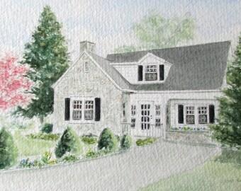 Custom House Painting Watercolor - House Portrait Watercolor - Housewarming Gift - Realtor Gift - Wedding Gift