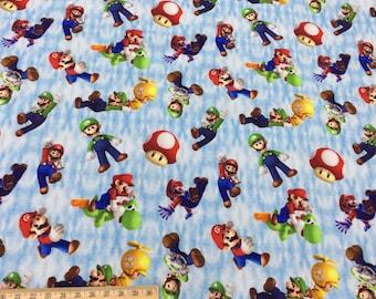 Mario, digital printing, brushed poly knit / minky / Swim jersey fabric WG135 - 1 meter