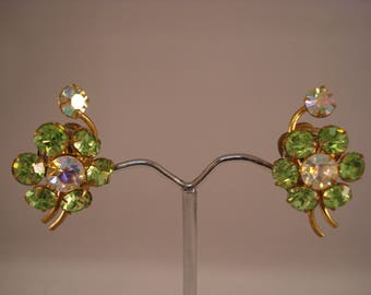 Gorgeous green flower clip on earrings