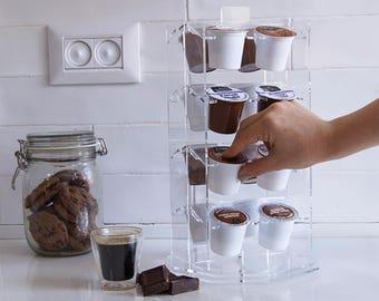 Clear Keurig Storage Carousel, K Cup Holder, Coffee Pod Organizer, Rotate Storage Unit, Transparent Modern Design, Plexiglas Décor Display