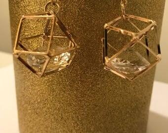 Boxed Diamond dangle gold earrings